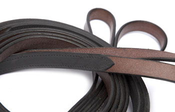 "Half Rubber Reins with hook stud (5/8"")"