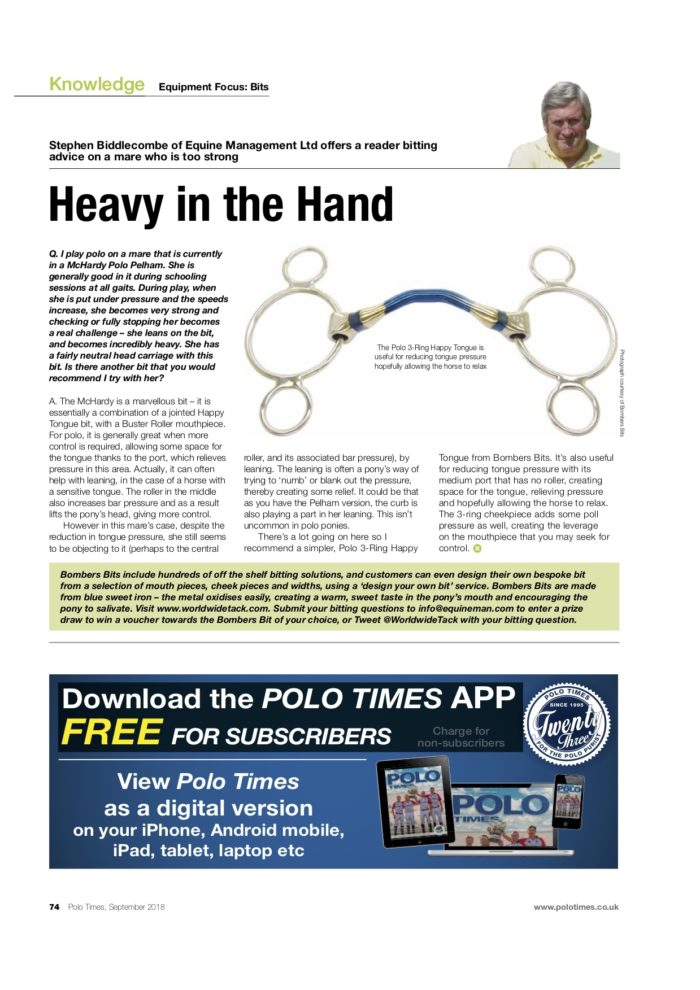 Bombers Bits from Equine Management in Polo Times magazine
