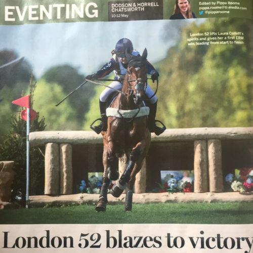 Laura Collett using Royal Rider Jump 25 S stirrups. Featured in Horse & Hound magazine.